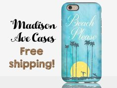 Beach Please Palm Trees Surfing Blue Watercolor Summer Island Beach Ocean Quote Samsung Galaxy Edge S5 S6 S7 iPhone 5 6 SE Tough Phone Case