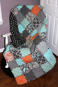 Check out this item in my Etsy shop https://www.etsy.com/listing/208433799/a-lively-life-rag-quilt