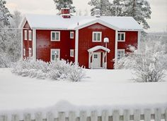 To know more about Sweden Swedish Homes in winter, visit Sumally, a social network that gathers together all the wanted things in the world! Featuring over 350 other Sweden items too! Swedish Style, Swedish House, Swedish Farmhouse, Sweden, Red Houses, Red Cottage, Scandinavian Home, House In The Woods, House Painting