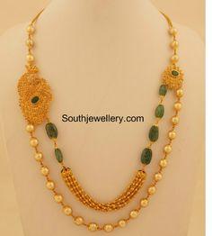uncut diamond south sea pearls mala