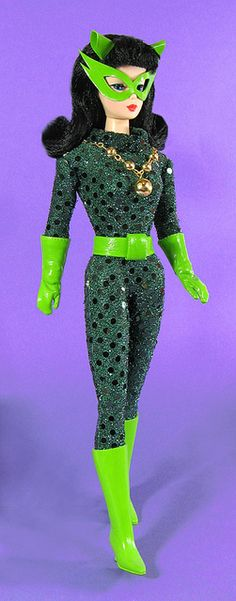 Barbie as Catwoman doll Catwoman circa 1967 Vintage repro Barbie with custom outfit.