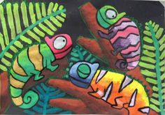 Chameleon artwork - could you do one in warm colors, one in cool colors, one in analogous colors, and one in complementary. Elementary art lesson.