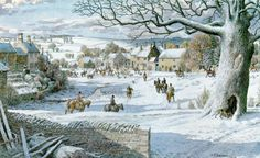 Stanley Roy Badmin - 'Little Barrington' Victorian Christmas, Christmas Art, Nature Paintings, Landscape Paintings, English Artists, British Artists, Best Jigsaw, Comic Pictures, Naive Art