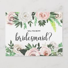 Watercolor Floral Will You Be My Flower Girl Card - script gifts template templates diy customize personalize special Will You Be My Bridesmaid Gifts, Bridesmaid Proposal Cards, Be My Bridesmaid Cards, Watercolor Wedding, Floral Watercolor, White And Pink Roses, My Flower, Floral Flowers, Bridal Gifts