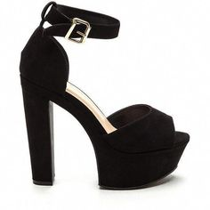 88ea91f26f2 Fine Vintage Chunky Platform Heels BLACK ( 29) ❤ liked on Polyvore  featuring shoes