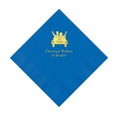 Cobalt Blue Just Married Personalized Napkins with Gold Ink - Luncheon