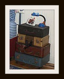 Old suitcases or a vintage trunk would work for an aviation, nautical or adventure theme.