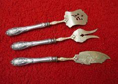 39e   po       800  Silber Vorlegebsteck in 800er Silber mit vergoldeten Laffen Drei Teile 49er, Silver, Nice Asses