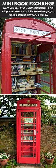 Red telephone boxes turned into mini libraries…WHY DON'T WE HAVE THIS IN THE US????