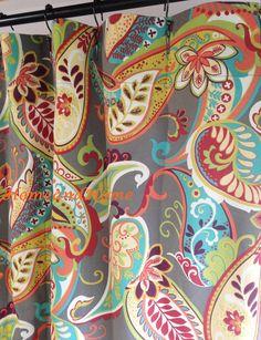 "Custom Fabric Shower Curtain Whimsy Paisley Mardi Gras plum yellow green Extra long Extra Wide 72"" x 84"" 72"" 74"" 78"" 84"" 90"" 96"" 108"""