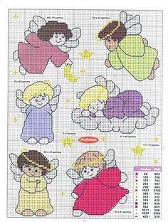 angel Stitch And Angel, Cross Stitch Angels, Cross Stitch Baby, Cross Stitch Charts, Cross Stitch Patterns, Cross Stitching, Cross Stitch Embroidery, Cross Stitch Geometric, Blackwork