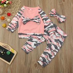 3 pcs Infant Toddler Baby Girls Camouflage Print Bow Top Pants Headband Outfit Set