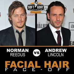 #malegrooming #shaving #sexyscruff #stubble #mensfashion #celebrities #Hollywoodhunks #NormanReedus #AndrewLincoln #TheWalkingDead