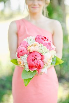 Pink peony bouquet with one shoulder pink bridesmaid dress. South Carolina wedding via @Karen Jacot Darling Me Pretty