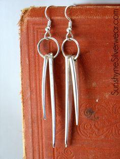 Fork Tine Earrings by sunshynesilverwear on Etsy, $25.00