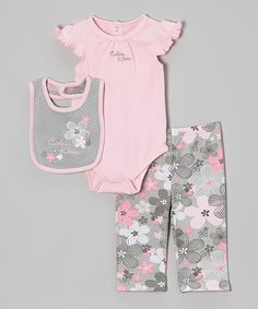 Pink & Gray Floral Angel-Sleeve Bodysuit Set - Infant by Calvin Klein Underwear #zulily #zulilyfinds