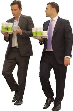 business men walking, with coffee