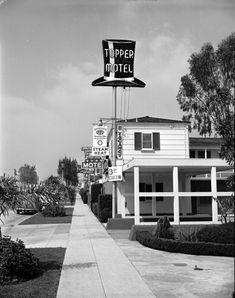 The Topper Motel, located at 11811 Ventura Boulevard, on the north side of the street west of Colfax Avenue (1950). Part of the Carlton Motor Lodge can be seen behind the Topper.
