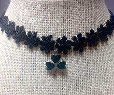 Shamrock/Three Leaf Clover Necklace Choker/Black Choker/St. Patrick's Day/Lace Flower Choker by icusuezq on Etsy https://www.etsy.com/listing/494080158/shamrockthree-leaf-clover-necklace