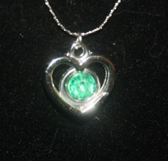 """MAY BIRTHSTONE PENDANT and 16"""" CHAIN. FREE SHIPPING! NO COPIOUS FEES $4.50"""