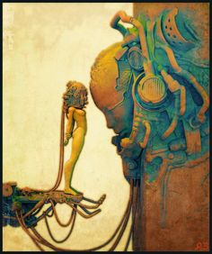Artwork: danu by fantasy artist Pascal Blanche. See more artwork by this featured artist on the fantasy gallery website. Sci Fi Kunst, Comic Kunst, Comic Art, Arte Sci Fi, Sci Fi Art, Art And Illustration, 3d Illustrations, People Illustration, Fantasy Kunst