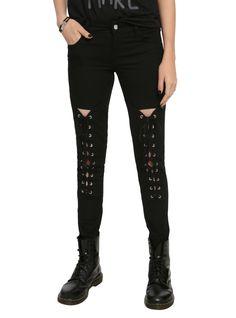 Steampunk pants leggings. Royal Bones By Tripp Black Lace-Up Skinny Jeans $49.50 AT vintagedancer.com