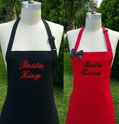 Personalized Past King and Pasta Queen Aprons  Red by Wheelering