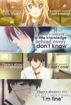 Anime: Shigatsu wa kimi no uso, Noragami, Hyouka, Tokyo Ghoul -edited by Karunas. Anime Meme, Manga Anime, Noragami Anime, Sad Anime Quotes, Manga Quotes, Tokyo Ghoul Quotes, Anime Triste, Hyouka, Dark Quotes