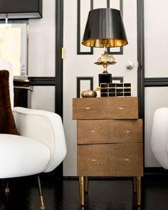 >>>Ryan Korban>>>R Augousti shagreen end table and Maison Charles lamp from Craig Van Den Brulle