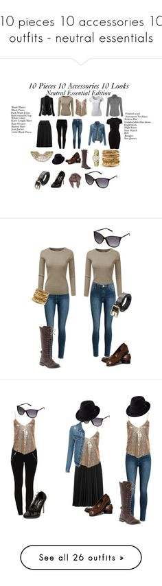 """""""10 pieces 10 accessories 10 outfits - neutral essentials"""" by julianne-lalonde ❤ liked on Polyvore featuring Vila Milano, Helen Kaminski, NLY Trend, Astraet, LE3NO, Rika, Lucky Brand, Talbots, Gucci and Dorothy Perkins"""
