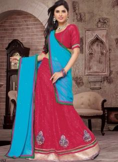 Hot Pink With Sky Blue Net Designer Lehenga Choli