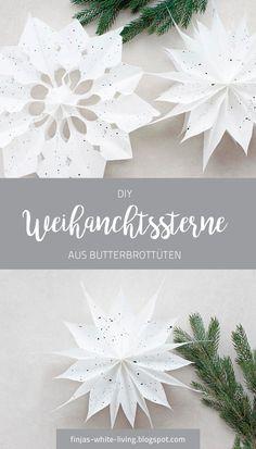 Anleitung für einfache DIY Weihnachssterne aus Butterbrottüten