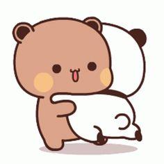 Anime Panda, Cute Anime Cat, Cute Bunny Cartoon, Cute Kawaii Animals, Cute Couple Cartoon, Cute Cartoon Pictures, Manga Cute, Cute Love Cartoons, Cute Cat Gif