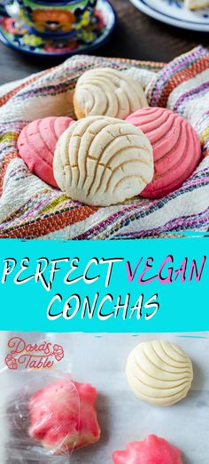 The best vegan concha recipe, tender enriched yeast rolls topped with a crunchy cookie topping. Try this iconic pan dulce. Authentic Mexican Recipes, Vegan Mexican Recipes, Vegan Recipes, Cooking Recipes, Cooking Food, Pan Conchas, Conchas Recipe, Healthy Vegan Breakfast, Vegan Snacks
