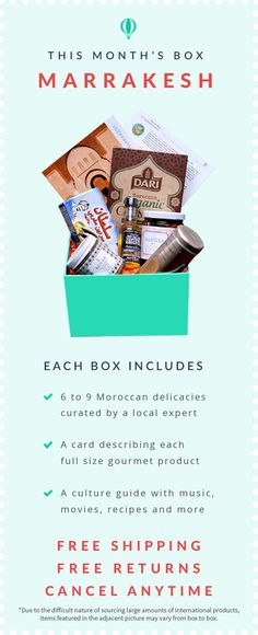 Different country in every new box. Includes recipes, music selection, and culture information. | Try The World