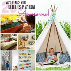 Coolest play room ever. Love the teepee and fake fire idea. The kids love playing with sticks and camping.