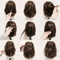 Twisted half-up hair hair hair, hair lengths és hair styles Short Hair Styles Easy, Braids For Short Hair, Medium Hair Styles, Curly Hair Styles, Hair Medium, Braids Easy, Fancy Short Hair, Simple Braids, Curly Braids