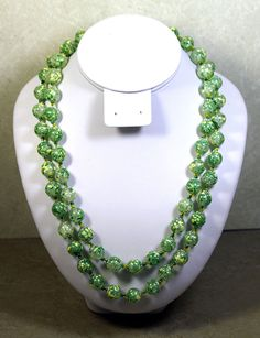 VINTAGE GREEN PLASTIC  TWO STRAND NECKLACE, 20 & 22 INCHES, CABACHON CLASP