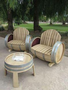 patio furniture made from recycled wooden barels