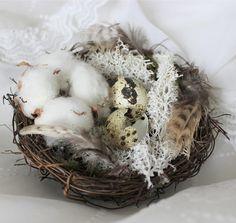 Nid D'Ostara Fleurs de Coton . petit nid artisanale pour