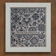 height: 280 crosses width: 251 crosses wool skeins needed: approx. 10 - 12 A traditional style Quaker sampler, featuring over 60 original elements, with a wonderful quote by the 13th century Persian Sufi poet and mystic Rumi.