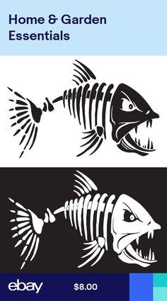 "Skeleton Fish Smaller Vinyl Decals for  Boat Fishing 7/"" x 11/"" 2"