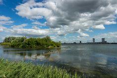 Kunstwerk: 'Zevenhuizerplas en Nesselande' van Michel van Kooten Rotterdam, Clouds, River, Country, Pictures, Canvas, Outdoor, Art, Products