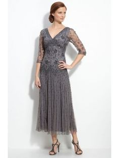 Beaded Mesh Mother of the Bride Dress