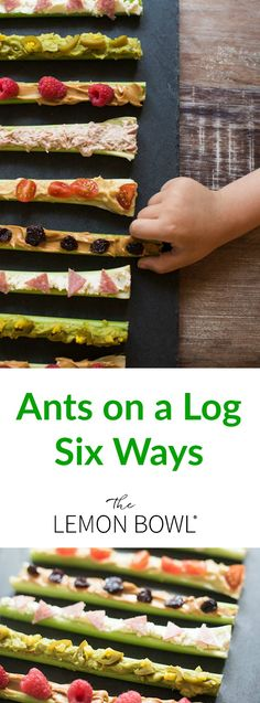 Healthy Snacks For Kids In honor of National Ants on a Log Day, I've created six fun new ways to enjoy the childhood classic snack that everyone loves to eat! Good Healthy Recipes, Healthy Snacks For Kids, Easy Snacks, Healthy Foods To Eat, Raw Food Recipes, Vegetarian Recipes, Snack Recipes, Healthy Eating, Cooking Recipes