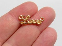10 Love Charm Connectors Gold Toned G0003 by StashofCharms on Etsy