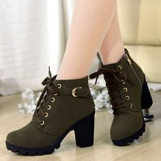 2cce65b58556 Trendy Women s High Heel Boots With Buckles and Solid Color Design ...