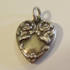 Sterling Silver Puffy Heart Charm - Repousse Roses