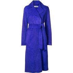 Dvf Diane Von Furstenberg tie-waist trench coat (214.135 RUB) ❤ liked on Polyvore featuring outerwear, coats, blue, tie waist coat, suede trench coats, blue coat, royal blue trench coat and royal blue coat