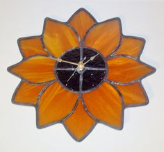 Stained Glass Flower Clock by PowerGlassCreations on Etsy